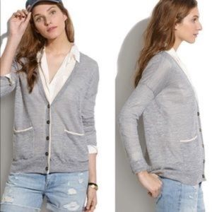 Madewell Color Tip Button Front Cardigan Sweater S